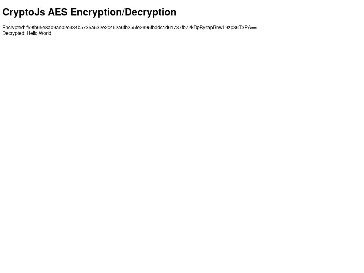 Encryption and decryption using CryptoJS' AES implmentation