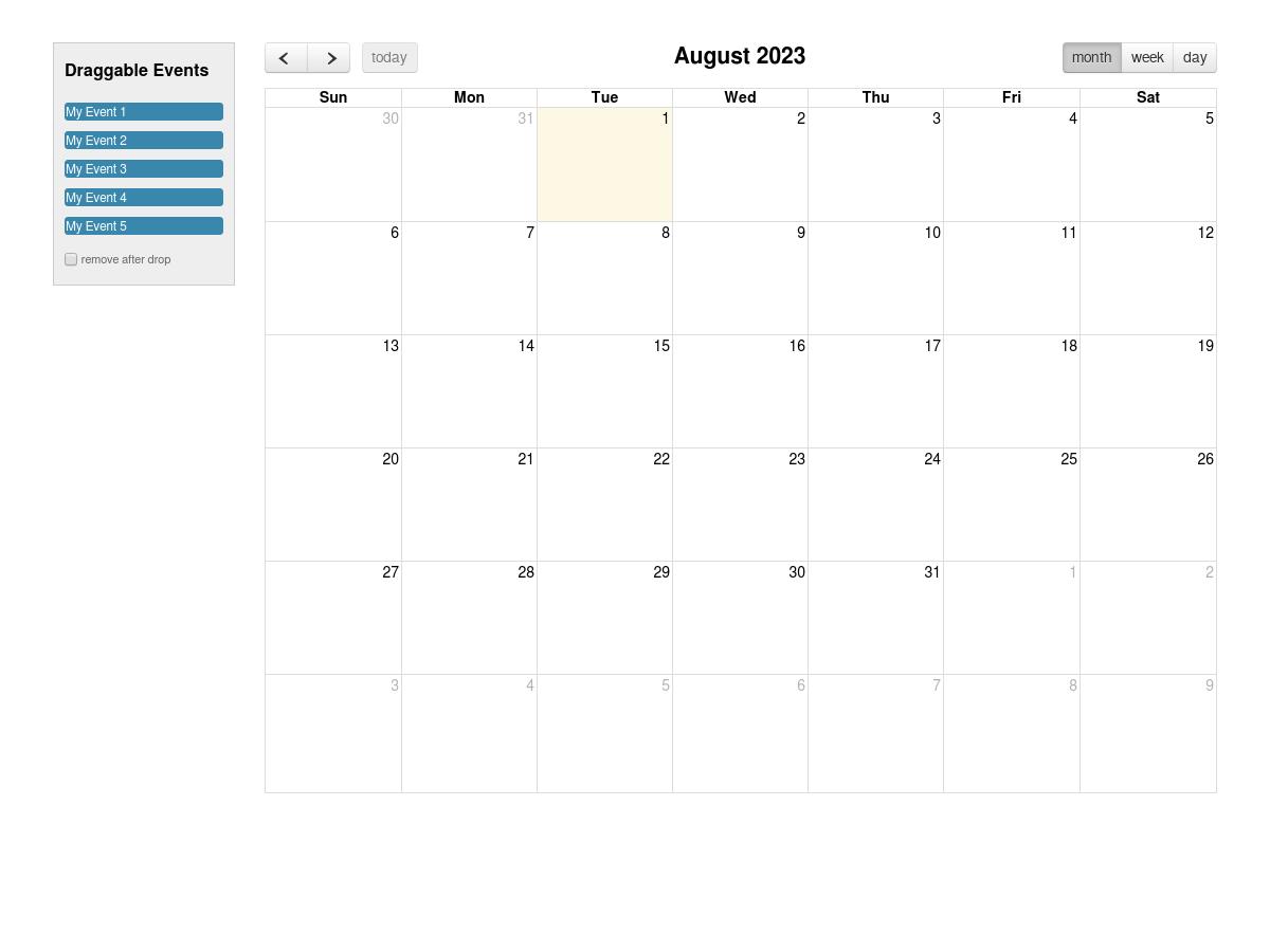 Full calendar 3 1 0 external event drop - working example