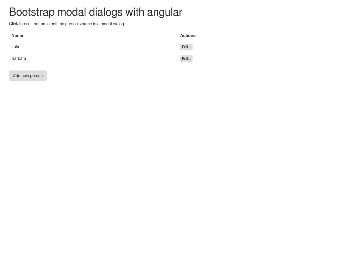 Pass data to a Bootstrap modal dialog using angular  - Plunker