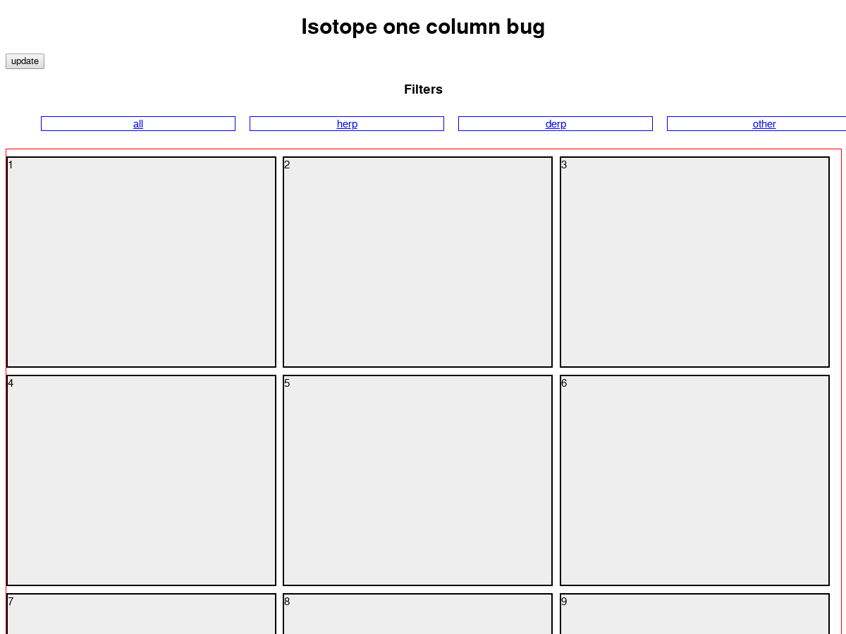 A bug in isotope that causes multiple columns to collapse