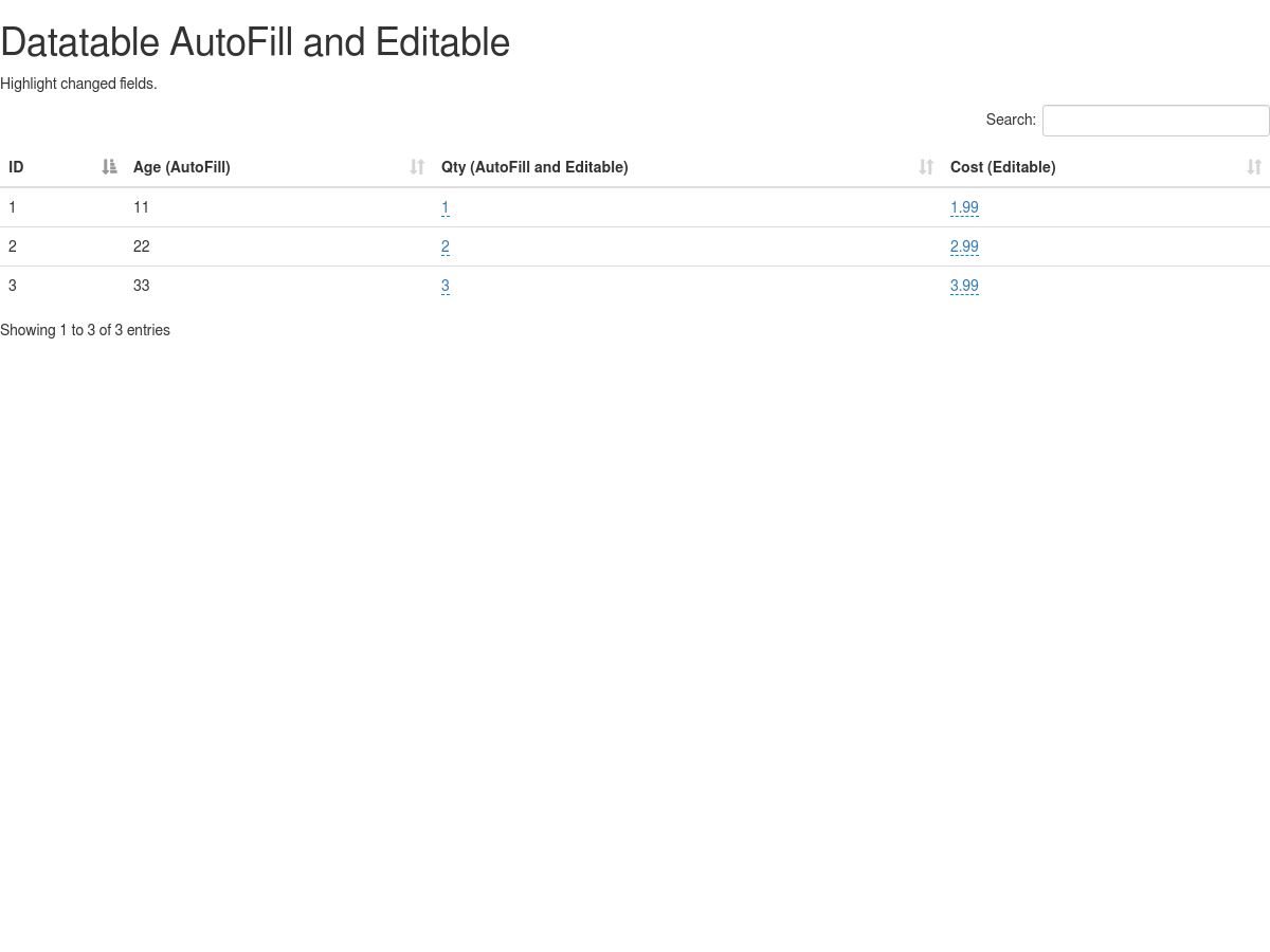 Datatable AutoFill and Editable  Highlight changed fields - Plunker