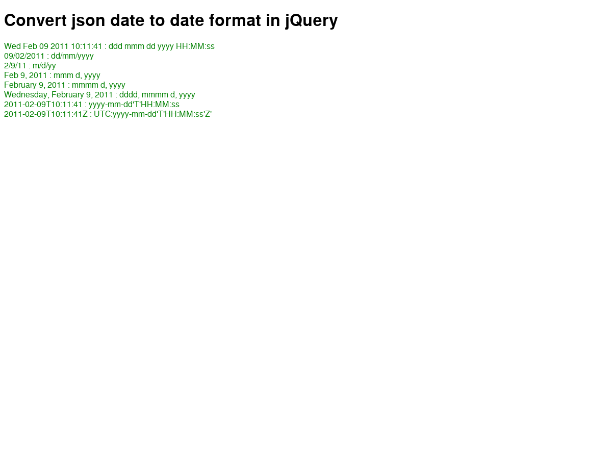Convert json date to date format in jQuery - Plunker