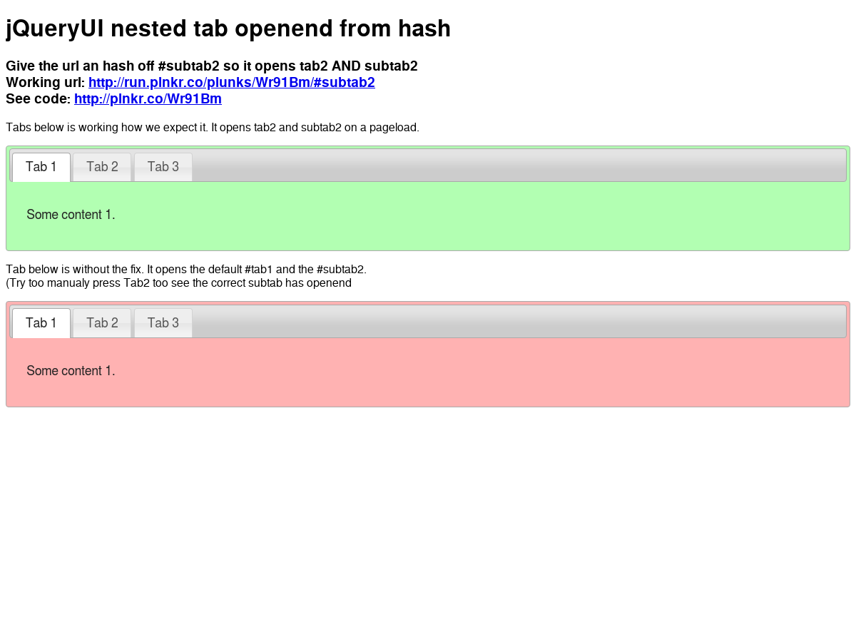 Example of jQuery UI tabs with subtabs that can be openend