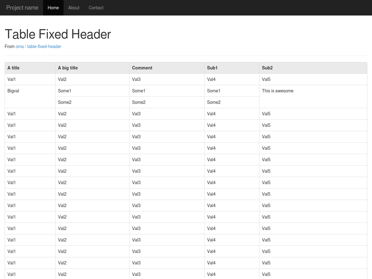 Bootstrap 3 RC Example Fixed Table Header - Plunker