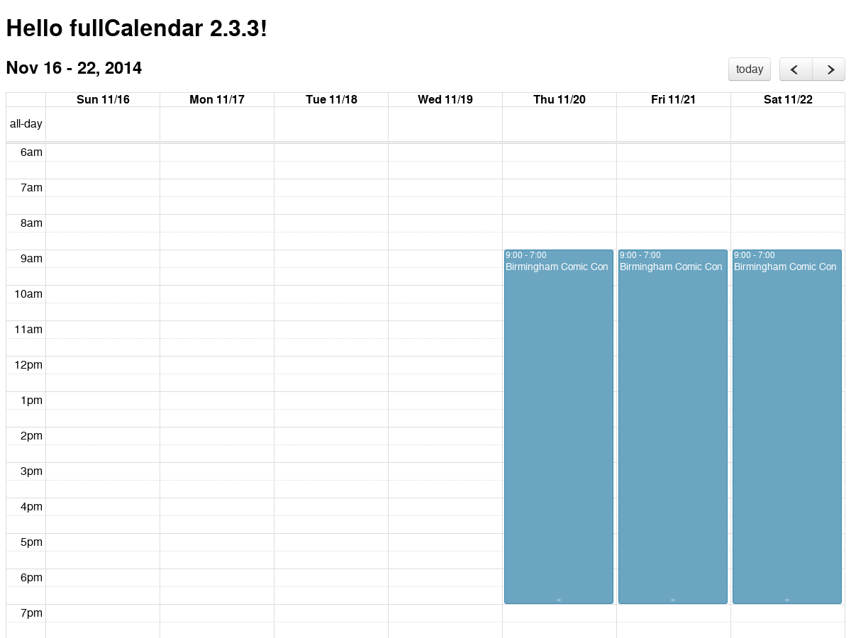 Very Basic fullCalendar 2 3 3 with multiple events constraint to the
