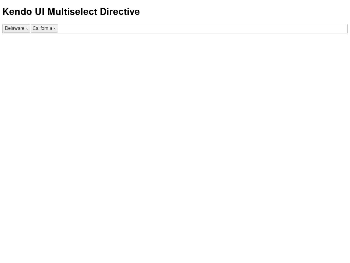 A directive that wraps the kendo ui jquery multiselect widget  - Plunker